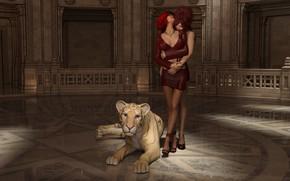 Картинка девушки, объятия, львёнок