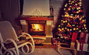 Обои камин, decoration, christmas tree, Рождество, holiday celebration, interior, merry christmas, Новый Год