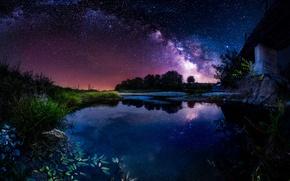 Обои небо, звезды, ночь, мост, река, млечный путь