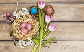 Картинка Весна, Тюльпаны, Пасха, Яйца, Праздник