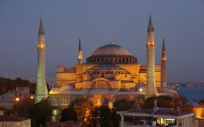 Картинка Вечер, Стамбул, Турция, Мечеть, Istanbul, Turkey, Evening, Mosque
