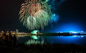 Картинка ночь, огни, отражение, река, стадион, Татарстан, наблюдают, Казань-арена