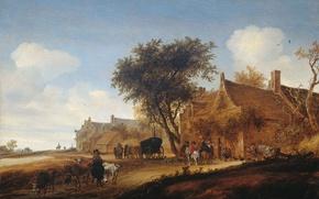 Картинка пейзаж, дерево, масло, картина, Деревенская Повозка, Соломон ван Рёйсдал