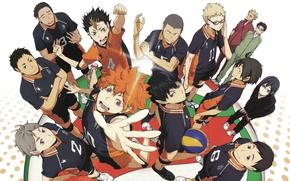 Картинка вверх, рыжий, очки, команда, парни, друзья, азарт, персонажи, жесты, спортивная форма, Haikyuu!!, Волейбол!, Shouyou Hinata, …