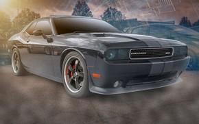 Обои черный, Dodge, Challenger SRT