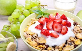 Картинка яблоко, завтрак, киви, клубника, виноград, фрукты, банан, мята, мюсли, йогурт