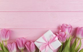 Обои цветы, подарок, букет, тюльпаны, love, розовые, fresh, wood, pink, flowers, romantic, tulips, gift, spring, with ...
