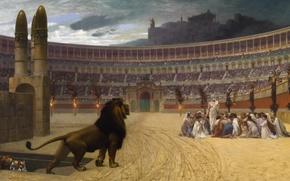 Картинка картина, лев, колизей, мифология, Жан-Леон Жером, Последняя Молитва Христианских Мучеников
