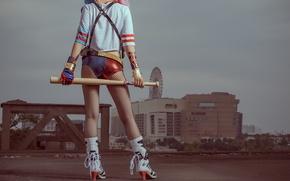 Обои город, стиль, фон, ножки, азиатка, бейсбольная бита