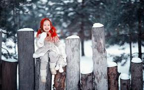 Обои зима, снег, радость, улыбка, настроение, игрушка, девочка, брёвна, шаль, бублик, дублёнка