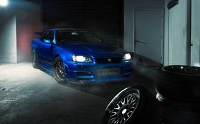 Картинка GTR, Nissan, Blue, R34