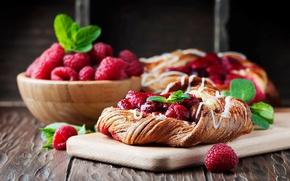 Обои пирог, доска, малина, ягоды
