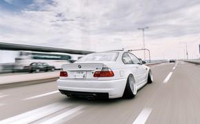 Картинка Авто, Дорога, Белый, BMW, Машина, БМВ, Автомобиль, E46, BMW M3, Шоссе, Немец, BMW E46, BMW …