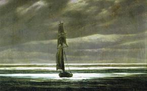 Картинка корабль, картина, парус, морской пейзаж, Каспар Давид Фридрих, Берег Моря в Лунном Свете