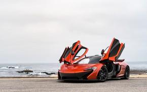 Картинка дорога, море, гиперкар, McLaren P1