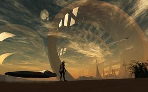 Картинка планета, сооружения, аппарат, ribbel cylinder, Parallel World