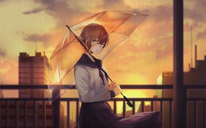 Картинка девушка, город, вечер, зонт