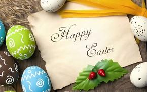 Картинка colorful, Пасха, wood, spring, Easter, eggs, decoration, Happy, яйца крашеные