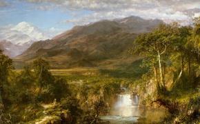 Обои пейзаж, река, Фредерик Эдвин Чёрч, водопад, Сердце Анд, природа, горы, картина