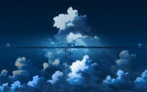 Картинка небо, облака, ночь, аниме