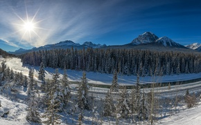 Картинка зима, лес, горы, река, долина, Канада, панорама, Альберта, Banff National Park, Alberta, Canada, Национальный парк …