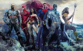 Картинка фантастика, рисунок, арт, Wonder Woman, постер, Batman, персонажи, комикс, Superman, супергерои, DC Comics, Cyborg, Aquaman, …