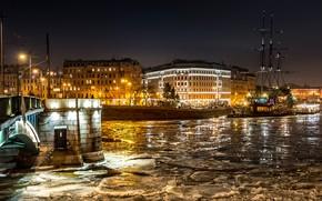Картинка зима, снег, ночь, мост, огни, река, корабль, дома, лёд, фонари, Санкт-Петербург, канал, Россия