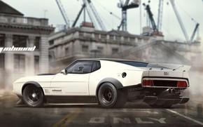 Картинка Mustang, Ford, Авто, Рисунок, Белый, Машина, Фон, Car, Ford Mustang, Автомобиль, Арт, Art, Рендеринг, Mach ...