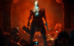 Картинка gun, blood, pistol, game, warhammer, weapon, suit, hammer, powerful, thorax, spark, bald, Redeemer: Violence Awakened, …