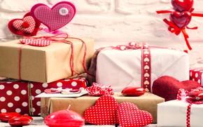 Картинка подарки, сердце, Valentine's Day, сердечки, любовь, gift, romantic, wood, love, heart