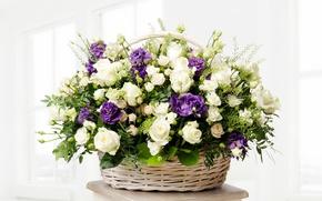 Картинка корзина, розы, букет, бутоны, roses, basket, эустома, роскошный, wicker, eustoma