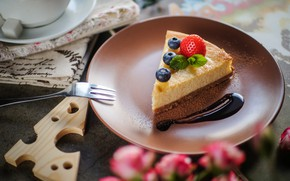 Обои ягоды, клубника, торт, голубика, чизкейк