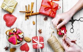 Картинка любовь, сердце, печенье, подарки, сердечки, love, happy, heart, wood, romantic, Valentine's Day, gift, cookies
