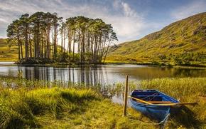 Обои Природа, Трава, Лодка, Шотландия, Осень, Озеро, Деревья