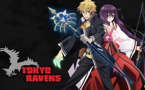 Картинка anime, asian, manga, japanese, oriental, asiatic, sugoi, bishojo, miko, Tokyo Ravens, mahou, Harutora Tsuchimikado