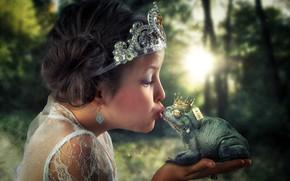 Картинка лягушка, поцелуй, девочка, жаба