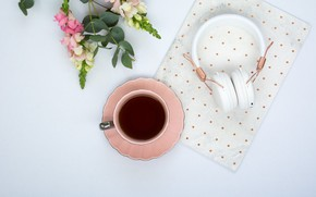 Картинка цветы, кофе, наушники, чашка, pink, flowers, cup, coffee, tender