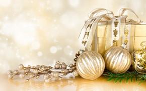 Картинка шарики, украшения, праздник, подарок, Новый Год, Рождество, Christmas, New Year