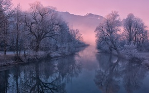 Картинка зима, иней, горы, природа, туман, река, утро, Германия, Бавария
