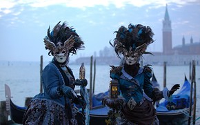 Картинка Венеция, канал, карнавал, маски, костюмы