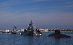 Картинка лодка, корабли, парад, ВМФ, военные, подводная, Севастополь