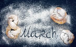 Картинка 8 марта, выпечка, сахарная пудра, булочки