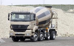 Картинка камни, Mercedes-Benz, щебень, порода, четырёхосный, бетоносмеситель, Axor