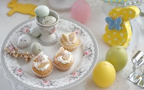 Картинка яйца, свечи, Пасха, зайчик, пирожные, сервировка