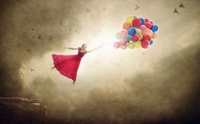 Картинка девушка, птицы, шары