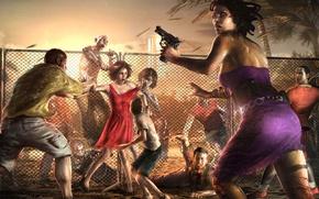 Картинка girl, zombie, gun, blood, pistol, game, dress, weapon, island, tatoo, Dead Island, Dead Island: Riptide, …