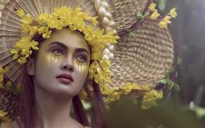 Картинка девушка, цветы, макияж, Farrah Jeanne