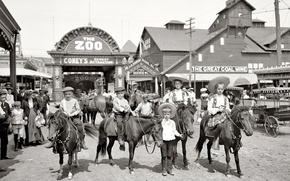 Обои дети, ретро, США, зоопарк, выходной, 1904-й год