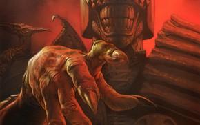 Картинка рука, когти, шлем, комикс, Greg Staples, Судья Смерть, Judge Death