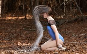 Картинка лес, девушка, волосы, мука